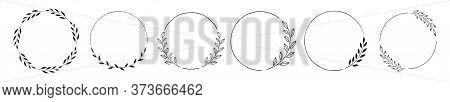 Set Of Black Laurels Frames Branches. Vintage Laurel Wreaths Collection. Hand Drawn Vector Laurel Le