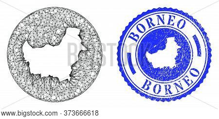 Mesh Stencil Round Borneo Map And Scratched Stamp. Borneo Map Is Stencil In A Round Stamp. Web Mesh
