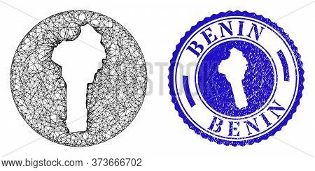 Mesh Hole Round Benin Map And Grunge Stamp. Benin Map Is Cut Out From A Round Stamp Seal. Web Mesh V