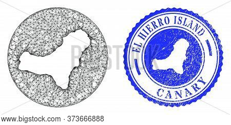 Mesh Stencil Round El Hierro Island Map And Grunge Seal Stamp. El Hierro Island Map Is Stencil In A