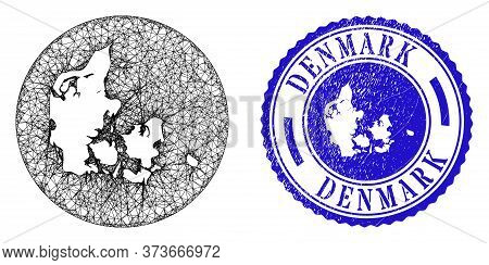 Mesh Inverted Round Denmark Map And Scratched Seal Stamp. Denmark Map Is Inverted In A Round Seal. W