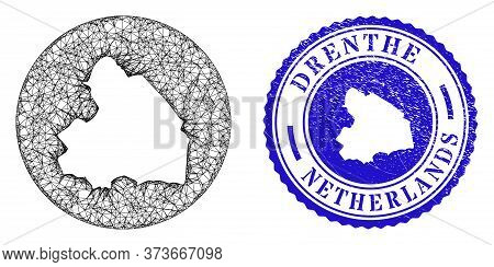 Mesh Hole Round Drenthe Province Map And Grunge Stamp. Drenthe Province Map Is A Hole In A Circle St