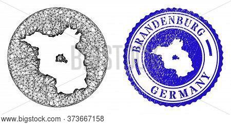 Mesh Inverted Round Brandenburg Land Map And Grunge Seal Stamp. Brandenburg Land Map Is Inverted In
