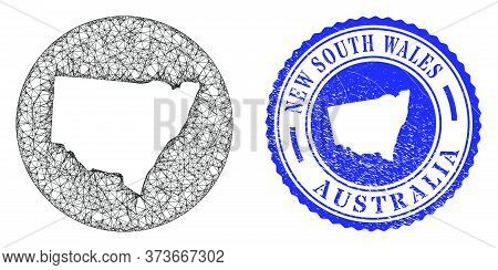 Mesh Inverted Round New South Wales Map And Scratched Seal Stamp. New South Wales Map Is Inverted In