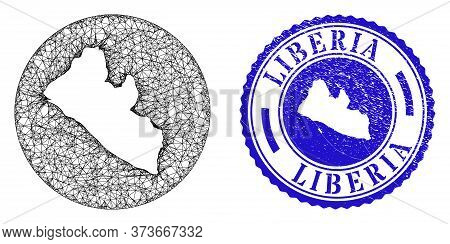 Mesh Subtracted Round Liberia Map And Scratched Seal Stamp. Liberia Map Is A Hole In A Round Stamp S