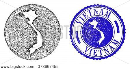 Mesh Subtracted Round Vietnam Map And Scratched Seal. Vietnam Map Is A Hole In A Circle Stamp Seal.