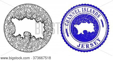 Mesh Stencil Round Jersey Island Map And Grunge Seal Stamp. Jersey Island Map Is Stencil In A Round