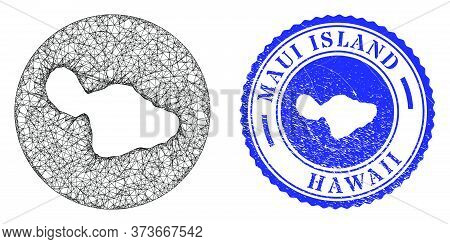 Mesh Hole Round Maui Island Map And Scratched Seal Stamp. Maui Island Map Is A Hole In A Circle Stam