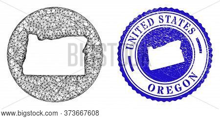 Mesh Subtracted Round Oregon State Map And Grunge Seal. Oregon State Map Is A Hole In A Circle Stamp