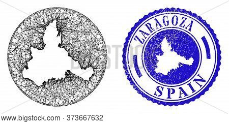 Mesh Stencil Round Zaragoza Province Map And Grunge Seal Stamp. Zaragoza Province Map Is A Hole In A