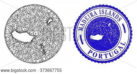 Mesh Hole Round Madeira Islands Map And Grunge Seal Stamp. Madeira Islands Map Is A Hole In A Round