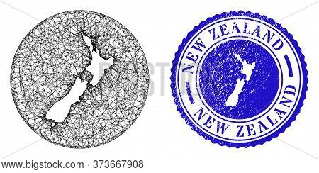 Mesh Subtracted Round New Zealand Map And Grunge Stamp. New Zealand Map Is Stencil In A Circle Stamp