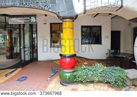Vienna, Austria - July 12, 2015: Entrance To Kunst Haus Museum By Architect Hundertwasser In Vienna,