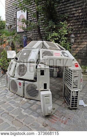 Vienna, Austria - July 12, 2015: Climate Changes Project Air Conditioners In Igloo Shape Exhibition