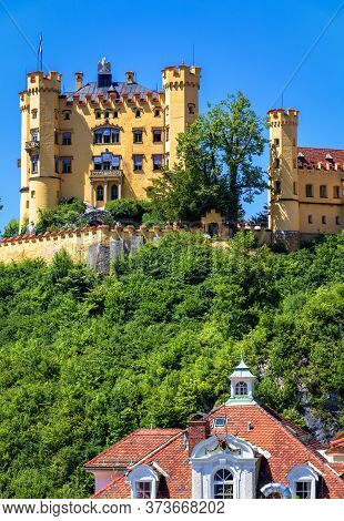 Hohenschwangau Castle Near Fussen, Bavaria, Germany. Schloss Hohenschwangau Is Landmark Of German Al