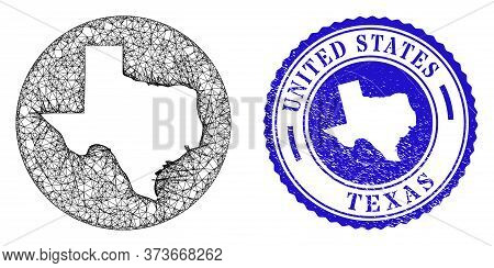 Mesh Subtracted Round Texas State Map And Scratched Seal Stamp. Texas State Map Is A Hole In A Circl