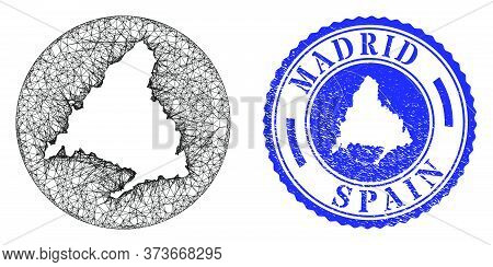Mesh Inverted Round Madrid Province Map And Scratched Seal Stamp. Madrid Province Map Is Inverted In