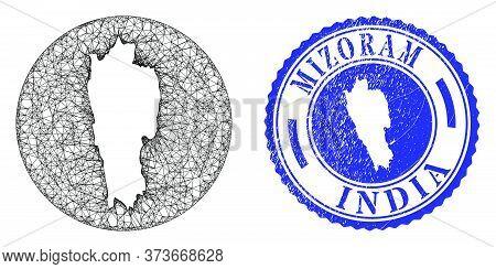 Mesh Hole Round Mizoram State Map And Grunge Stamp. Mizoram State Map Is A Hole In A Circle Stamp. W