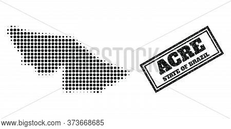 Halftone Map Of Acre State, And Rubber Watermark. Halftone Map Of Acre State Designed With Small Bla