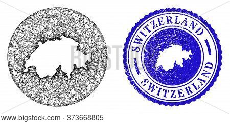Mesh Subtracted Round Switzerland Map And Scratched Seal. Switzerland Map Is A Hole In A Circle Stam