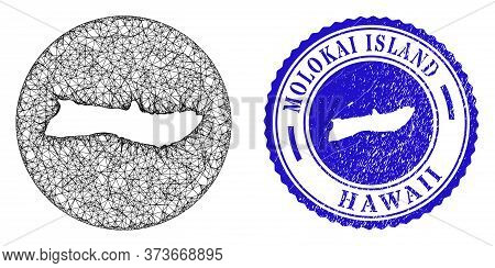 Mesh Stencil Round Molokai Island Map And Grunge Seal Stamp. Molokai Island Map Is Inverted In A Rou