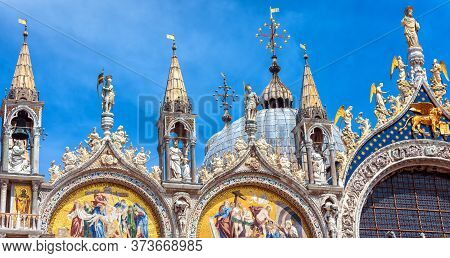 Saint Mark`s Basilica Or San Marco In Venice, Italy. It Is Top Landmark In Venice. Detail Of Ornate