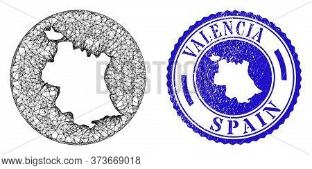 Mesh Inverted Round Valencia Province Map And Grunge Seal Stamp. Valencia Province Map Is Inverted I