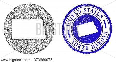 Mesh Stencil Round North Dakota State Map And Scratched Seal. North Dakota State Map Is A Hole In A