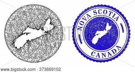 Mesh Hole Round Nova Scotia Province Map And Scratched Seal Stamp. Nova Scotia Province Map Is A Hol