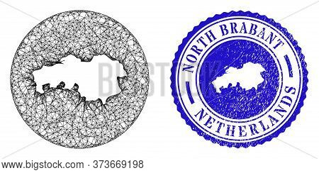 Mesh Hole Round North Brabant Province Map And Grunge Seal Stamp. North Brabant Province Map Is A Ho