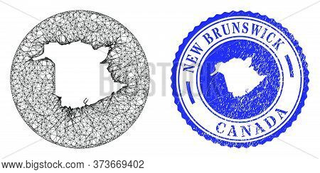Mesh Subtracted Round New Brunswick Province Map And Scratched Stamp. New Brunswick Province Map Is