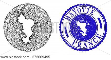 Mesh Stencil Round Mayotte Islands Map And Grunge Seal Stamp. Mayotte Islands Map Is Stencil In A Ro