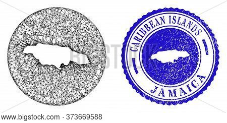 Mesh Stencil Round Jamaica Map And Scratched Seal Stamp. Jamaica Map Is Stencil In A Round Stamp. We