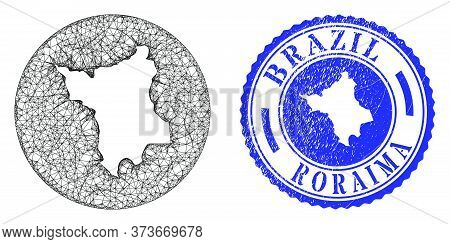 Mesh Inverted Round Roraima State Map And Scratched Seal Stamp. Roraima State Map Is Carved In A Rou