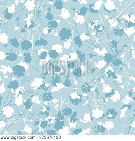 Simple Floral Background With White And Blue Flowers. Drawn Seamless Floral Texture. Blue Ornament T