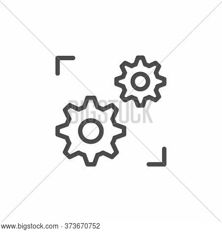 Support System Line Outline Icon Isolated On White. Cogwheel Sign. Repair Service, Configuration Whe