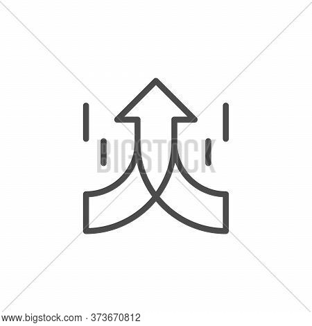 Goal Sign Line Outline Icon Isolated On White. Merging Arrow Element. Business Growth, Direction, Jo