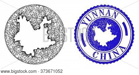 Mesh Stencil Round Yunnan Province Map And Grunge Seal. Yunnan Province Map Is Stencil In A Circle S