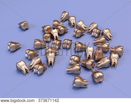 Golden Molar Teeth, Gold Crown Teeth. 3d Illustration