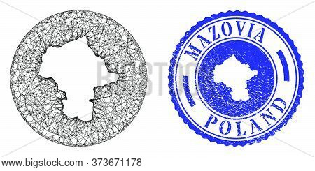Mesh Hole Round Mazovia Province Map And Grunge Stamp. Mazovia Province Map Is Carved In A Round Sta