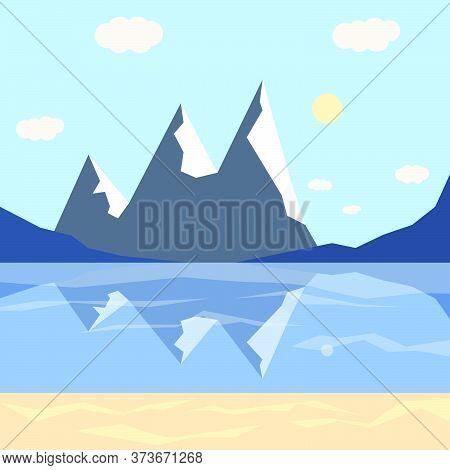 Snowscape Nature Scene.vector Flat Windter Mountain.vector Illustration