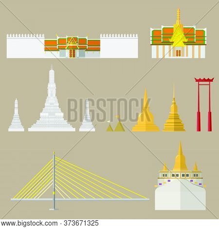 Landmarks Of Asia. Cityscape And Buildings. Bangkok In Thailand And Landmarks And Travel Place.vecto