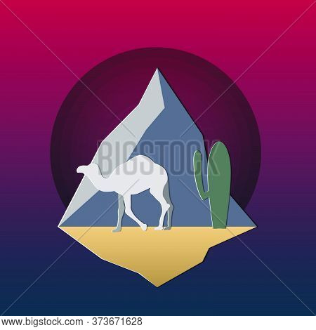 Man On The Camel The Pyramids.silhouette Of Camel In The Desert With Pyramids In Egypt.vector Illust
