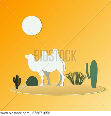 Oasis With Camels And Cactus Tree.camel Caravan.vector Illustration