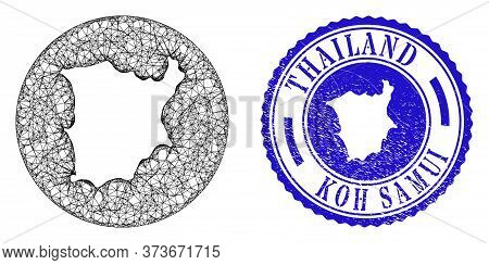 Mesh Subtracted Round Koh Samui Map And Scratched Seal Stamp. Koh Samui Map Is Stencil In A Circle S