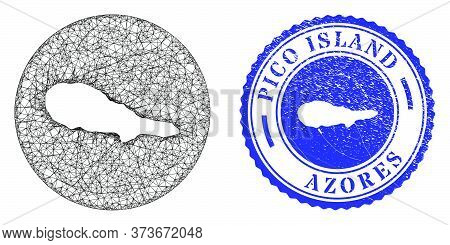 Mesh Stencil Round Pico Island Map And Grunge Seal Stamp. Pico Island Map Is Inverted In A Circle St