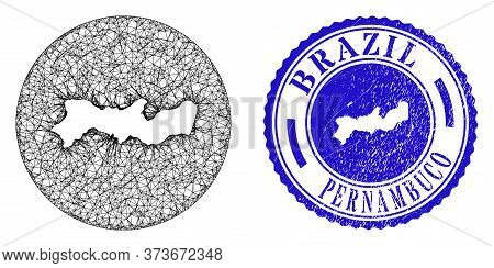 Mesh Hole Round Pernambuco State Map And Scratched Seal Stamp. Pernambuco State Map Is A Hole In A R