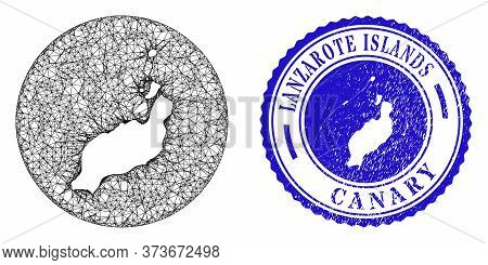Mesh Hole Round Lanzarote Islands Map And Grunge Seal Stamp. Lanzarote Islands Map Is A Hole In A Ro