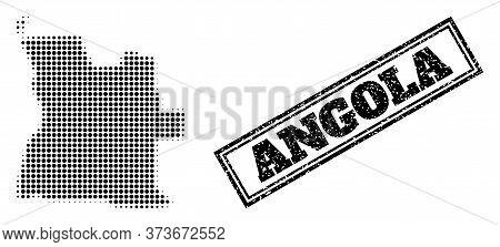 Halftone Map Of Angola, And Dirty Watermark. Halftone Map Of Angola Made With Small Black Circle Dot