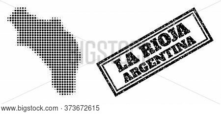 Halftone Map Of Argentina - La Rioja, And Unclean Stamp. Halftone Map Of Argentina - La Rioja Constr